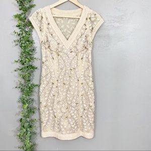 Sue Wong ornate beaded cocktail dress in beige